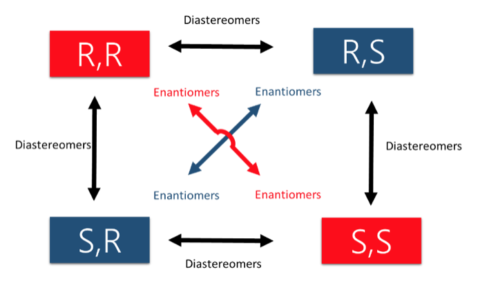 only one stereocenter that differs (parallel arrows) are diastereomers